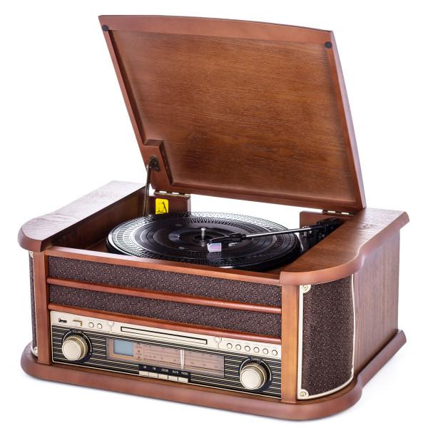 Camry CR1111 Tocadiscos Retro Estilo Vintage Antiguo de Madera (FM - CD - MP3 - USB - Función Grabación) Plato Giratorio 33/45/78 RPM