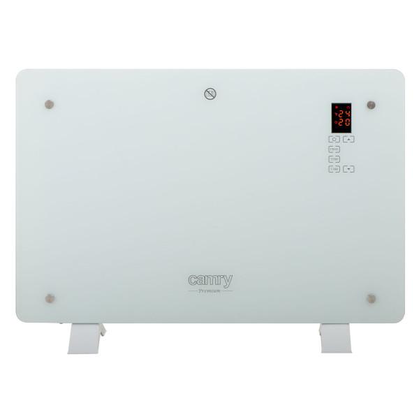 CAMRY CR7721 Convector Eléctrico Diseño Cristal, Radiador Pantalla LCD y Táctil, Mando Distancia, Temporizador, 2 Niveles Temperatura, 750/1500W