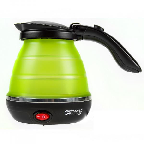 CAMRY CR-1265 Hervidor de Agua Eléctrico Plegable, Resistencia Oculta, Tapa automática, Silicona, 0,5 Litros, 750W, Libre de BPA, Verde
