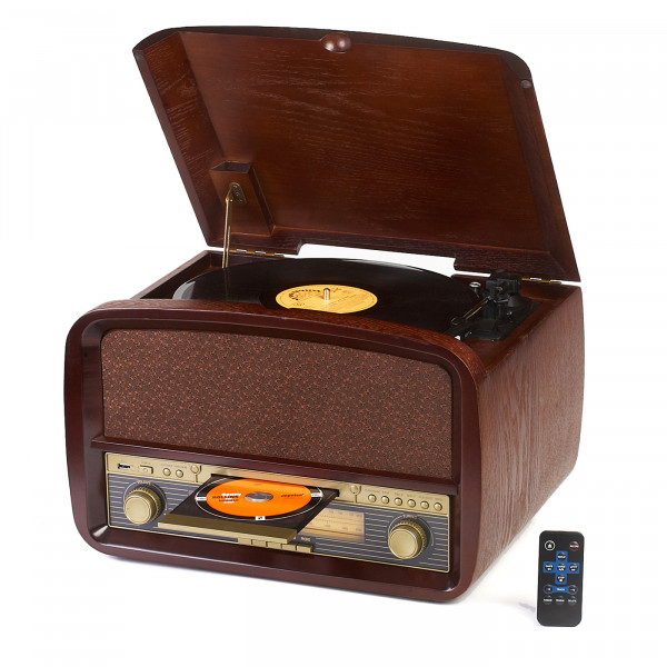 CAMRY CR1112 Tocadiscos Retro de Madera 33-45-78 RPM, USB, CD, MP3, Mando a Distancia, Radio FM, Grabador, Estilo Vintage