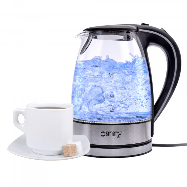 CAMRY CR1239 Hervidor de agua eléctrico cristal 1,7 litros, recipiente sin BPA, resistencia oculta, 2000 W con apagado automático al alcanzar la ebullición, inalámbrico 360º sin cable