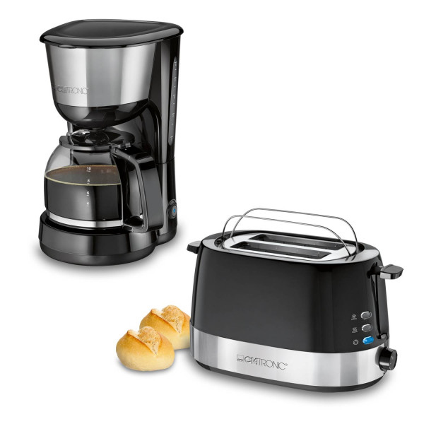 Clatronic Modern - Set desayuno, Cafetera 8 a 10 tazas, Tostadora 2 ranuras, negro y acero inoxidable