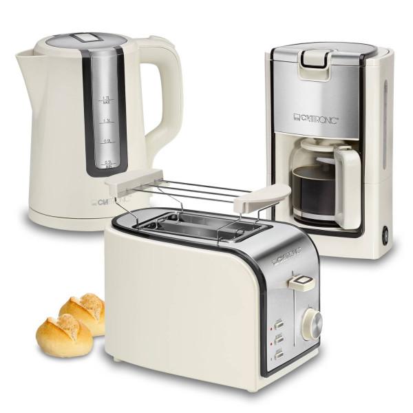 Clatronic Retro - Set desayuno, Cafetera 8 a 10 tazas, Tostadora, Hervidor de Agua 1,7 l, crema