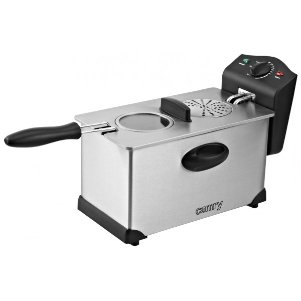 Camry CR 4909 Freidora eléctrica compacta 3 litros cubeta desmontable lavable antiadherente, regulador hasta 190°C, 2000W