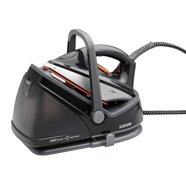 Clatronic DBS 3611 - Centro de planchado con autonomía ilimitada, suela cerámica, depósito 2,3 l, 2200 W, color negro y plateado