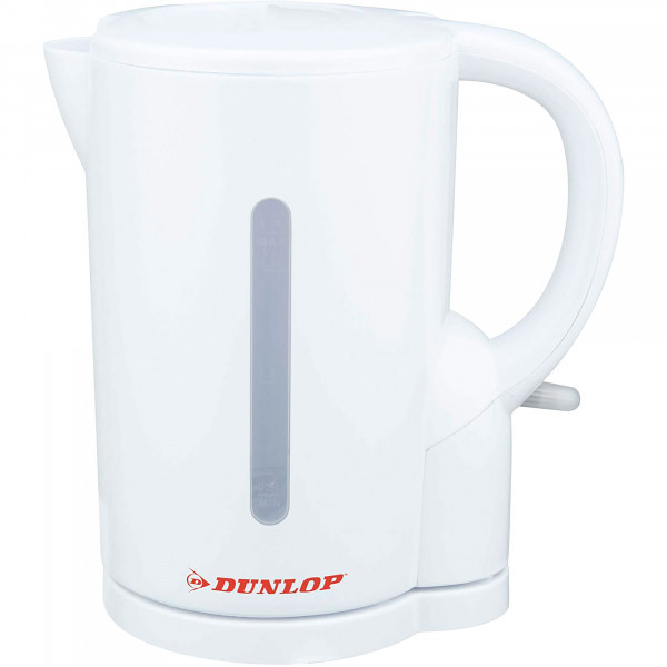 DUNLOP 871125206147 Hervidor de Agua Eléctrico 1,7 Litros, Recipiente sin BPA, Resistencia Oculta, 2200 W, Apagado Automático al Alcanzar la Ebullición, Inalámbrico 360º sin Cable, Blanco