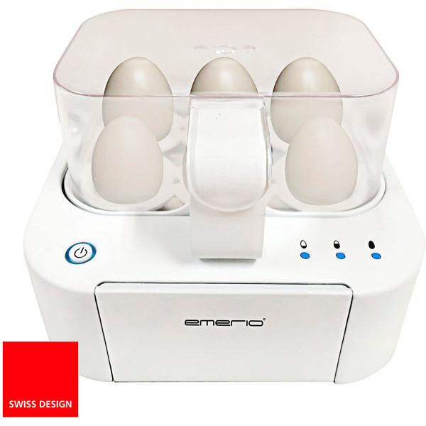 Emerio EB115560.2 Cuece Huevos Eléctrico para 6 Huevos, Ajuste de Cocción, Libre de BPA, 400W