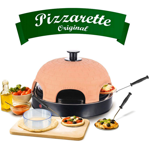 Emerio PO115984 Horno para Pizzas Eléctrico Cubierta Piedra Terracota, 6 comensales, 1100W