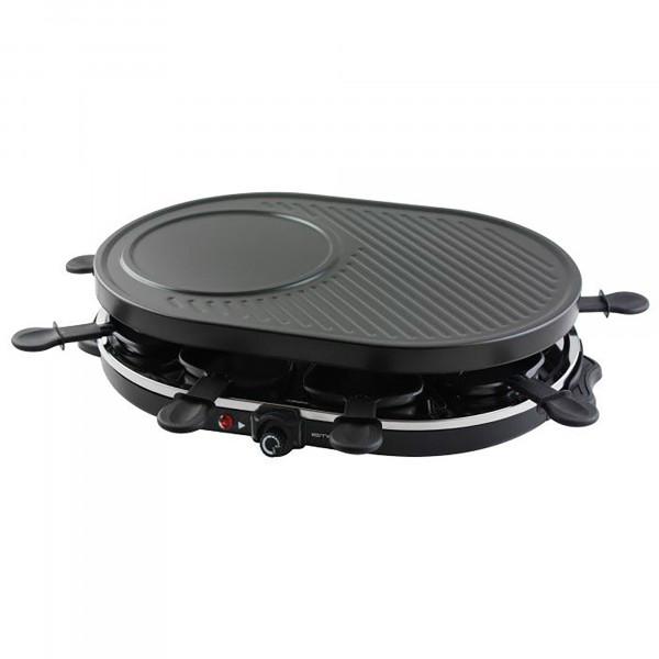 Emerio RG105522 Raclette Grill, Plancha Asar con 8 sartenes, Crepera, Antiadherente, Temperatura Regulable, 1200W