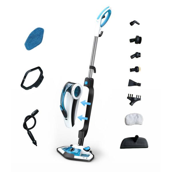 Fagor FGBV50 Escoba a Vapor Doble Función Mopa y Limpiador de alfombras, suelos, cristales, cocinas, 10 En 1, Calentamiento 15-20 Seg