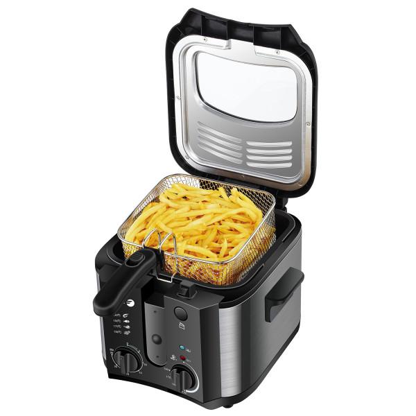 Fagor FGRC200 Freidora Eléctrica Compacta Cubeta Desmontable 2.5 Litros, 1Kg patatas, Regulador Temperatura, Temporizador, Filtro Carbon Antiolor, 1600W