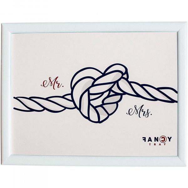 Fancy Tray Home Escritorio Portátil Ordenador, Bandeja Acolchada para Regazo Ergonómica, Comida, Multiusos, Mesa Trabajo Base 43x33x1,5cm, Materiales Calidad, Madera, Diseño MR. & MRS.