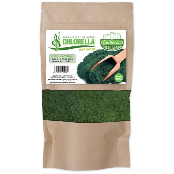 Guillermo Alga Chlorella Orgánica en Polvo Ecológica PuraSuperalimento 100% Natural 250g