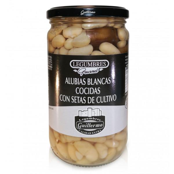 Guillermo Alubias Blancas Cocidas con Setas de Cultivo Gourmet Calidad Extra Conserva Tarro 540gr