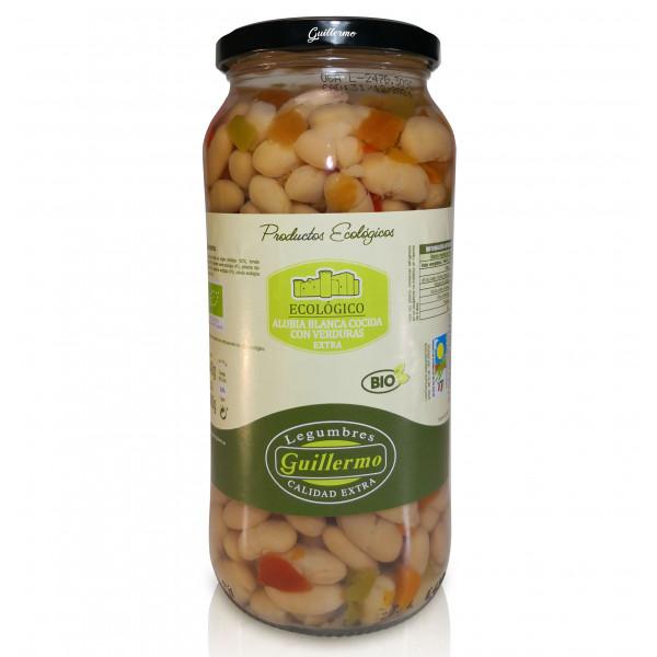 Guillermo Alubias Blancas Cocidas con Verduras Ecológicas BIO Judias Categoría Extra Conserva Tarro 540gr