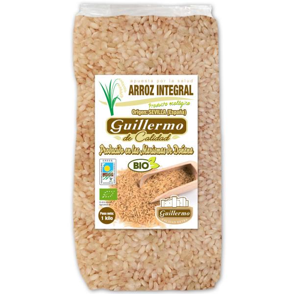 Guillermo Arroz Integral Redondo Ecológico BIO Marisma de Doñana para paellas y risottos 100% Natural 1000gr