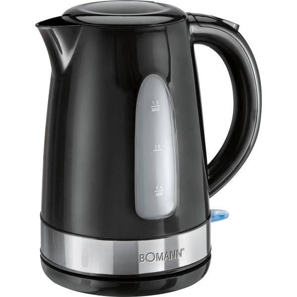 Bomann WK 1581 - Hervidor de agua eléctrico, capacidad de 1,5 l, 2200 W, color negro y plata