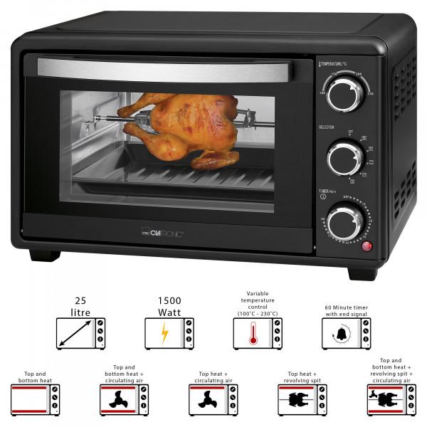 Clatronic MBG 3727 - Horno de sobremesa 25L con asador de pollos giratorio Grill aire caliente, 1500W