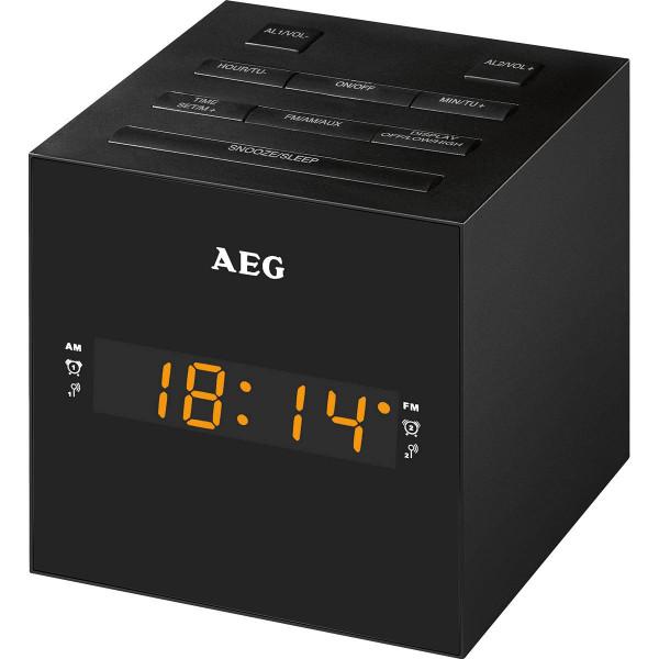 AEG Radio Despertador con USB para carga de móvil MRC 4150 negro