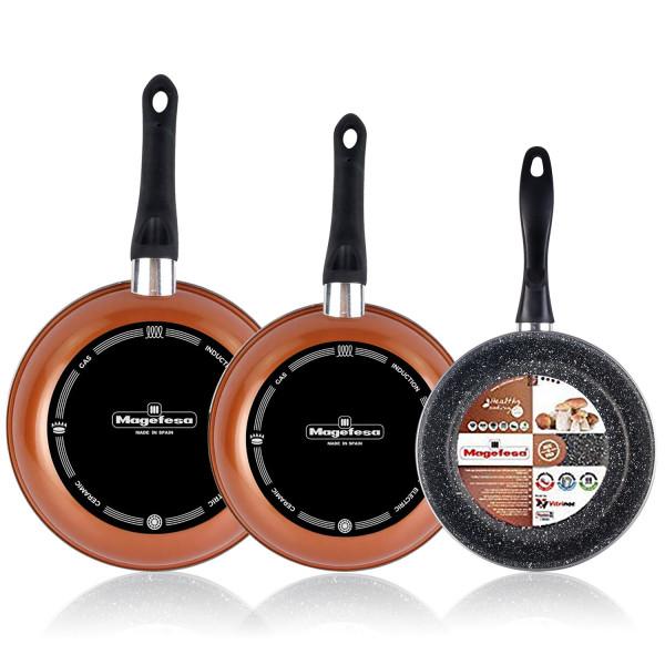 Magefesa Copper Set Juego 3 Sartenes 20-24-28 cm, inducción, antiadherente PIEDRA