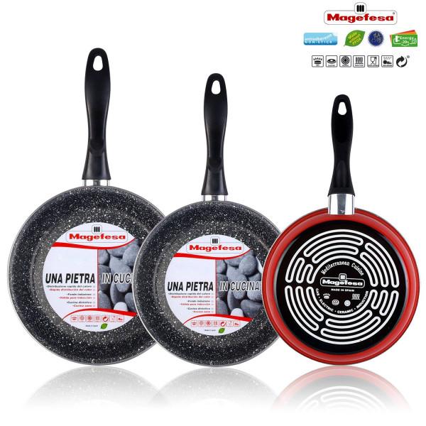 Magefesa K2 Rojo - Set Juego 3 Sartenes 18-20-24 cm, inducción, antiadherente PIEDRA libre de PFOA, limpieza lavavajillas apta para todas las cocinas, vitroceramica, gas, Fabricadas en España