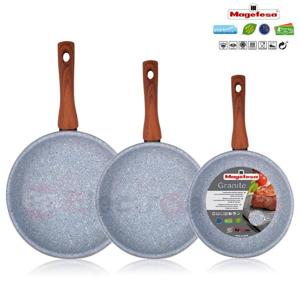 Magefesa Marmol - Set Juego 3 Sartenes 18-20-24 cm, inducción, antiadherente Marmol