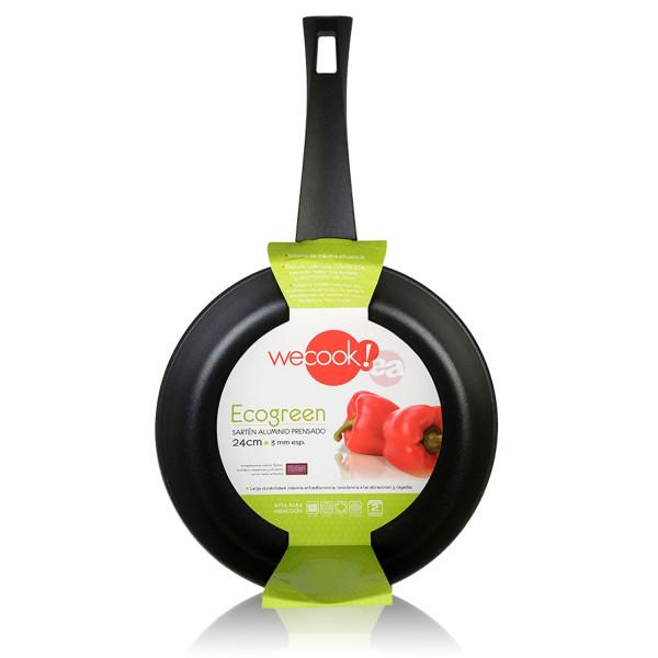Wecook Ecogreen Sartén Aluminio cm, inducción, Antiadherente ecológico sin PFOA, 3mm espesor, Apta todas las cocinas, vitroceramica, gas, lavavajillas