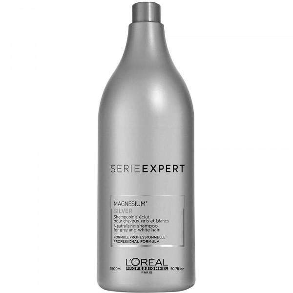 L'Oréal Serie Expert Silver Champú Cabellos Blancos y Grises 1500ml, Champú Clarificante, Matizador de Color