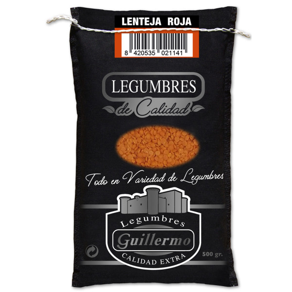 Guillermo Lenteja Roja Turca Gourmet Calidad Extra Saco 500gr
