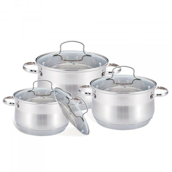 Maestro MR-3512-6L Batería de Cocina Acero Inoxidable, 6 Piezas, Inducción, 3 Cacerolas, 3 Tapas de Cristal, Apta Para Todo Tipo de Cocinas, Apta Lavavajillas
