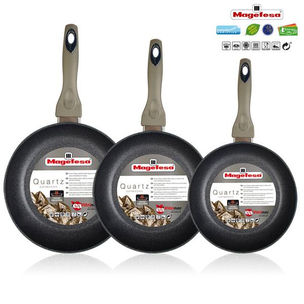 Magefesa QUARTZ - Set Juego 3 Sartenes 20-24-28 cm aluminio forjado, inducción, antiadherente ecológico libre PFOA cuarzo, mango ergonómico soft touch