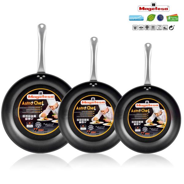 Magefesa Astro Chef - Set Juego 3 Sartenes 20-24-28 cm aluminio forjado