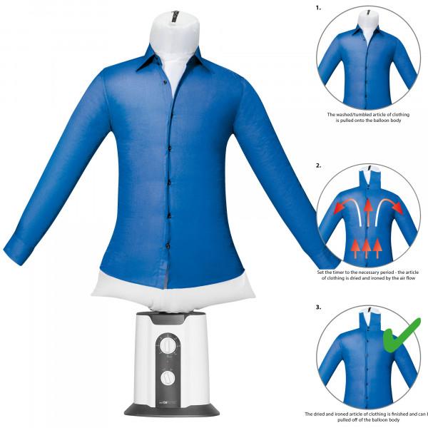 Clatronic HBB 3707 - Maniquí de planchado y secado automático, plancha de camisas y blusas, temporizador 180 minutos, 2 niveles temperatura, 850W