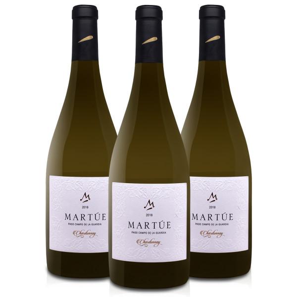 Martúe Chardonnay Vino Blanco D.O. Pago Campo de la Guardia - Lote Pack de 3 Botellas x 750 ml
