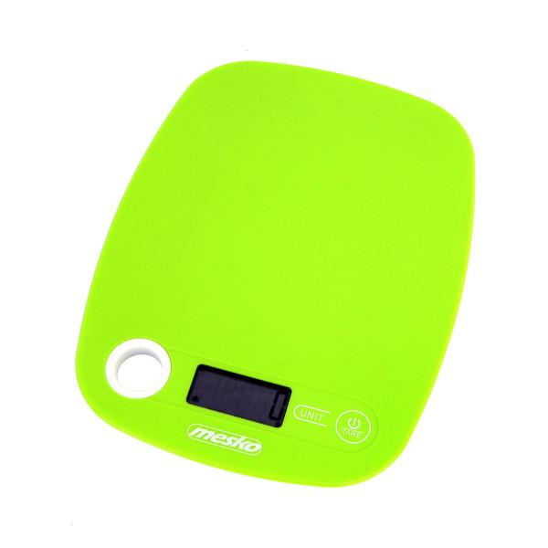 Mesko MS3159G Báscula de Cocina Digital, Alta Precisión Pasos 1g Pesa Alimentos hasta 5Kg, Display LCD, Función Tara, Multifunción, Verde