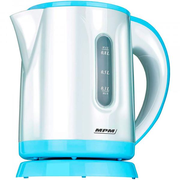 MPM MCZ-47 Hervidor de Agua Eléctrico 0,8 Litros, Recipiente sin BPA, Compacto, Resistencia Oculta, Apagado Automático al Alcanzar la Ebullición, Inalámbrico 360º sin Cable, 1100W, Blanco/Azul