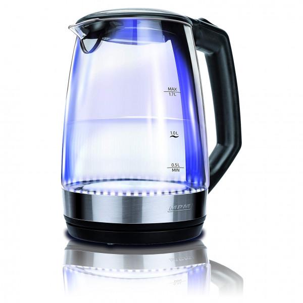 MPM MCZ-83 Hervidor de agua eléctrico cristal 1,7 litros, recipiente sin BPA, resistencia oculta, 2200 W con apagado automático al alcanzar la ebullición, inalámbrico 360º sin cable, negro