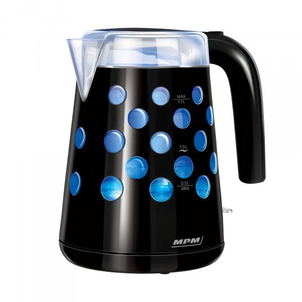 MPM MCZ-86/C Hervidor agua Eléctrico Retro iluminado. 1,7 L, Inalámbrico, Protección contra ebullición en seco, Filtro Anti cal intercambiable, 2200 W, Libre de BPA