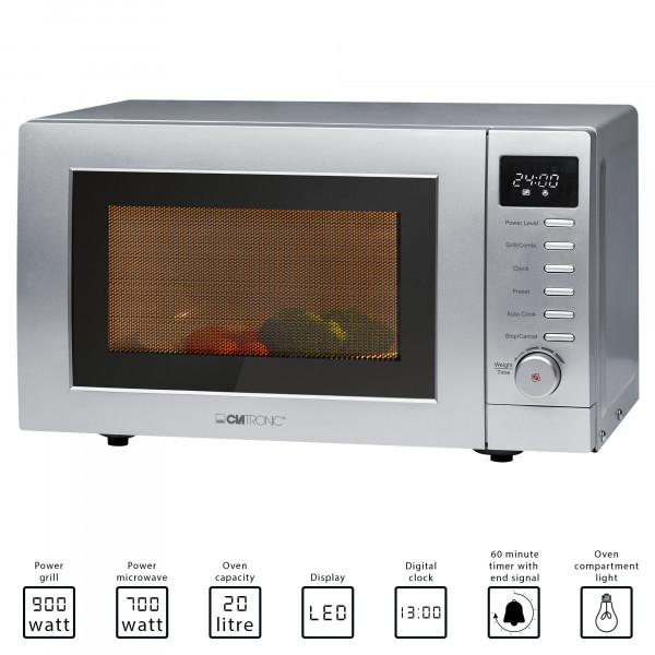 Clatronic MWG 787 - Microondas con grill con pantalla digital, 700 W, grill de 900 W, capacidad de 20 litros, color plateado