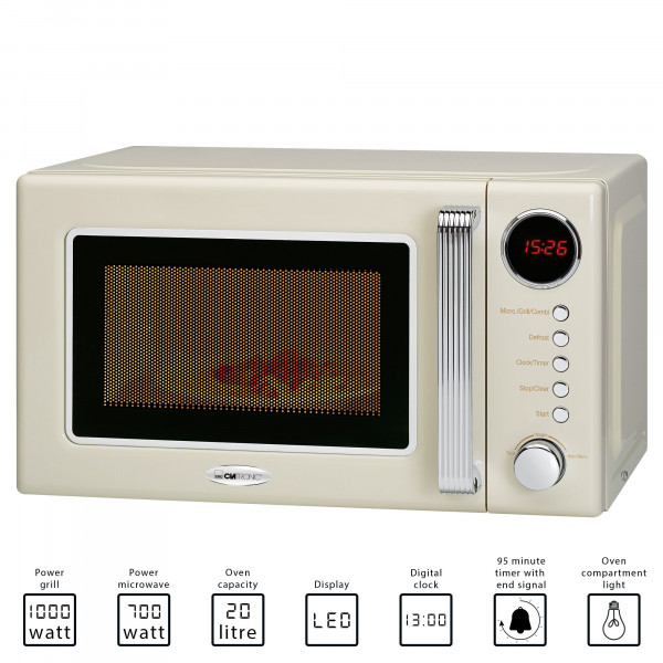 Clatronic MWG 790 - Microondas con grill retro 20 litros, 700/1000W, display digital, timer, color crema