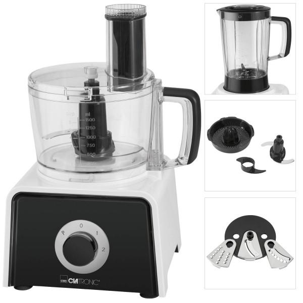 Clatronic KM 3645 - Procesador de alimentos, 1,5 litros, exprimidor, amasadora, pelador, rallador, 600W