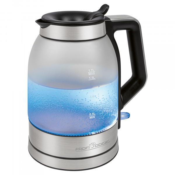 Proficook WKS 1215G Hervidor de Agua Eléctrico Cristal 1,7 Litros, Recipiente sin BPA, Retroiluminado, Resistencia Oculta, Apagado Automático al Alcanzar la Ebullición, Inalámbrico 360º sin Cable, 2200 W