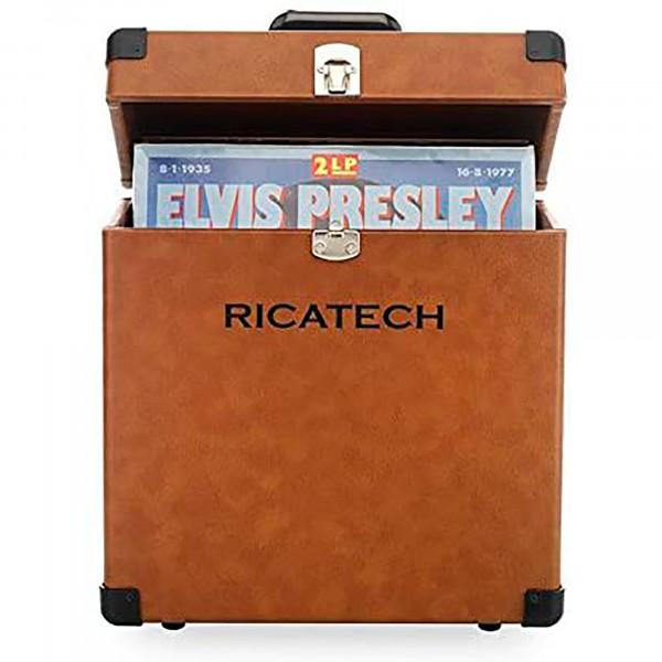 Ricatech RC0042 Maleta Discos Vinilo, Almacenar hasta 30LPs y Singles, Portátil, Marrón