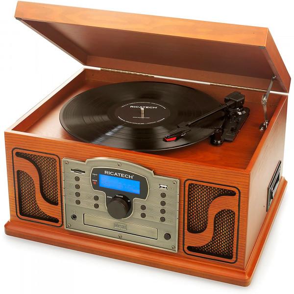 Ricatech RMC250 Deluxe 7 en 1 Tocadiscos Retro Estilo Vintage Antiguo de Madera, Radio AM/FM,Conexión USB/SD, Reproductor CD/Casette/Plato Giratorio 33/45/78 RPM, Función Grabación, Mando a Distancia