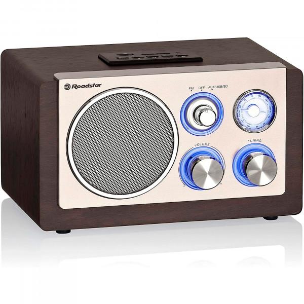 Roadstar HRA-1345US Radio Retro Compacta Analógica FM, Puerto para MP3, Lector deTarjeta SD, Altavoz de 1 Vía 28W, Portátil, Iluminación LED, Madera