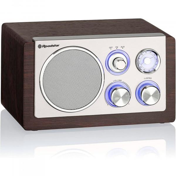 Roadstar HRA1245NWD Radio Retro Compacta Analógica FM/AM, Altavoz de 1 Vía 28W, Portátil, Iluminación LED, Madera