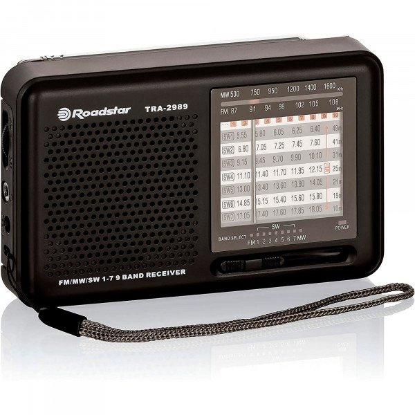 Roadstar TRA-2989 Radio Multibanda AM/FM/SW, Toma de auriculares, Portátil, Ligera, Negro