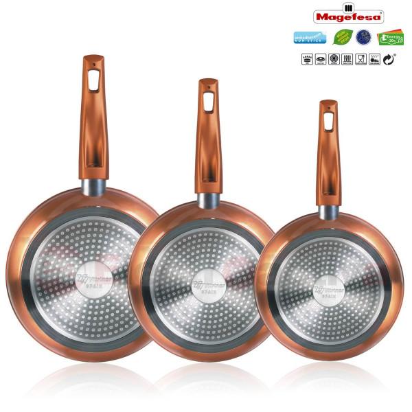 Magefesa Granada - Set Juego 3  Sartenes 18-20-24 cm aluminio forjado
