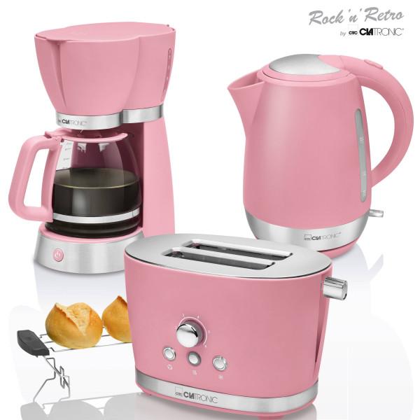 Clatronic Vintage - Set Desayuno, Cafetera 15 tazas, Tostadora 2 rebanadas, Hervidor de agua 1,7 litros, rosa pastel, series Rock & Retro