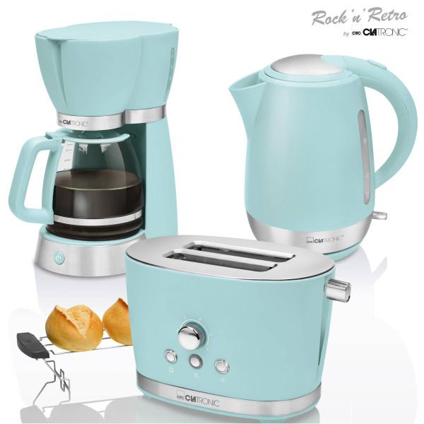 Clatronic Vintage - Set Desayuno, Cafetera 15 tazas, Tostadora 2 rebanadas, Hervidor de agua 1,7 litros, verde, series Rock & Retro